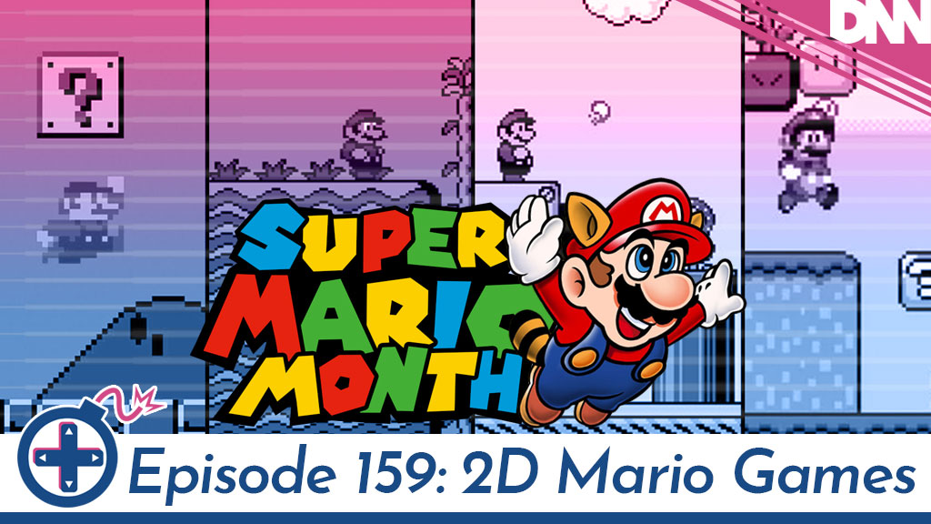 Mario Month logo with screen caps from Mario 2D Games